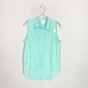 Maeve Anthro light blue layered button up top 10